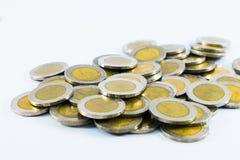 Baht della moneta 10 del ` s della Tailandia su fondo bianco fotografia stock libera da diritti