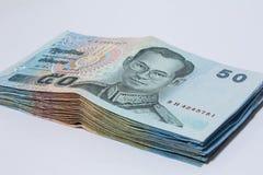 50 baht, kassa Royaltyfria Foton