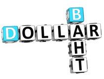 Baht-Kreuzworträtsel des Dollar-3D Stockbild