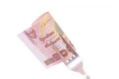 1000-Baht-Rechnung auf Gabel Stockfotos