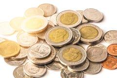 Baht tailandés, dinero, moneda tailandesa Monedas tailandesas del dinero y x28; bath& x29; escalera Foto de archivo libre de regalías