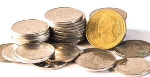 Baht tailandês, dinheiro, moeda tailandesa Moedas tailandesas do dinheiro & x28; bath& x29; Foto de Stock Royalty Free