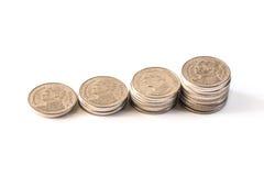 Baht tailandês, dinheiro, moeda tailandesa Moedas tailandesas do dinheiro & x28; bath& x29; escadaria Foto de Stock Royalty Free