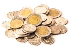 Baht tailandês, dinheiro, moeda tailandesa Moedas tailandesas do dinheiro & x28; bath& x29; escadaria Fotografia de Stock Royalty Free