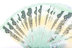 Baht tailandês do dinheiro 20 isolado no fundo branco Fotos de Stock Royalty Free