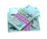 Baht tailandês do dinheiro 20 isolado no fundo branco, tailandês da cédula Fotos de Stock