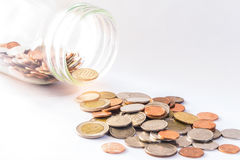 Baht tailandês, garrafa das moedas, dinheiro, moeda tailandesa Moedas tailandesas do dinheiro & x28; bath& x29; escadaria classif Foto de Stock Royalty Free
