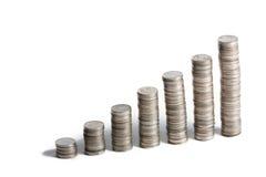 Baht tailandese di punti delle monete Immagini Stock