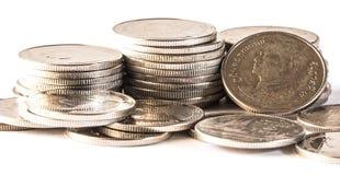 Baht thaïlandais, argent, pièce de monnaie thaïlandaise Pièces de monnaie thaïlandaises d'argent et x28 ; bath& x29 ; Photographie stock libre de droits