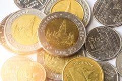 Baht thaïlandais, argent, pièce de monnaie thaïlandaise Pièces de monnaie thaïlandaises d'argent et x28 ; bath& x29 ; Photos libres de droits