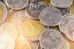 Baht thaïlandais, argent, pièce de monnaie thaïlandaise Pièces de monnaie thaïlandaises d'argent et x28 ; bath& x29 ; Images libres de droits
