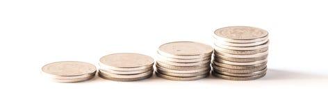 Baht thaïlandais, argent, pièce de monnaie thaïlandaise Pièces de monnaie thaïlandaises d'argent et x28 ; bath& x29 ; escalier Photographie stock