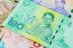 20 Baht thai banknote,Commemorative banknotes in remembrance of the late King Bhumibol Adulyadej,Focus on The king. Commemorative banknotes in remembrance of the Royalty Free Stock Photography
