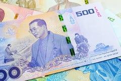 500 baht thai sedel, jubileums- sedlar i minne av den sena konungen Bhumibol Adulyadej royaltyfria foton