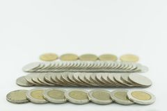 Baht Thailand coins stacked on white background. Thai baht Thailand on a white background Stock Image