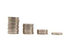 Baht thaïlandais d'étapes de pièces de monnaie Image stock