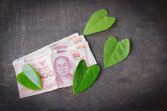 100 Bahtbankbiljetten op de groene lijst en het blad groen hart Royalty-vrije Stock Fotografie
