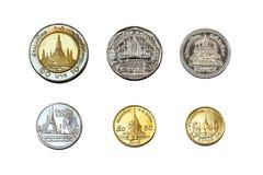 bahten coins satangs thailand royaltyfri foto