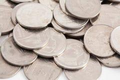 bahten coins thai arkivbilder