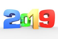 2019 3D,banner 2019,year 2019 white background. royalty free illustration