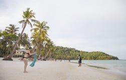 Bai圣地沙滩看法在热带Phu Quoc海岛 免版税库存照片
