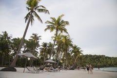 Bai圣地沙滩看法在热带Phu Quoc海岛 库存照片