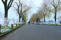 Bai Causeway in Hangzhou of China in winter after the snow Royalty Free Stock Photography