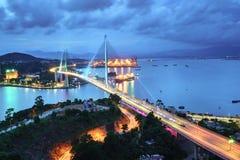 Bai Chay γέφυρα στη μακριά πόλη εκταρίου, επαρχία Quang Ninh, Βιετνάμ Στοκ φωτογραφίες με δικαίωμα ελεύθερης χρήσης