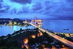 Bai Chay γέφυρα στη μακριά πόλη εκταρίου, επαρχία Quang Ninh, Βιετνάμ Στοκ εικόνες με δικαίωμα ελεύθερης χρήσης