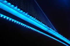 Bai chay bridge in halong bay Vietnam lit up with light blue lighting Stock Photography