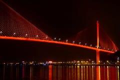 Bai chay bridge in halong bay Vietnam lit up with orange red lighting Royalty Free Stock Photos