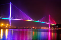Bai Chay Bridge at Night Stock Image