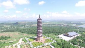 Bai dinh pagoda - Aerial view of Highest Buddhist temple in Asia stock video footage
