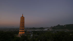 Bai Dinh Temple with illuminated tower in the dusk, Vietnam Stock Image