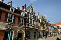 Bai Lu, China: La Grande Rue Buildings. View along La Grande Rue with its charming European-French style buildings featuring turrets, towers, and half-timbered Stock Images
