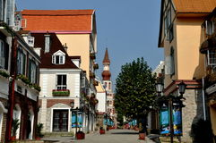 Bai Lu, China: View along La Grande Rue. View along La Grande Rue with its charming recreated European-French style buildings featuring turrets, towers, and half Royalty Free Stock Image