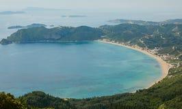Baia blu, Corfù, Grecia Fotografia Stock Libera da Diritti