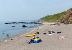 Baia Cornovaglia Inghilterra di Whitsand della spiaggia di Portwrinkle Fotografie Stock Libere da Diritti