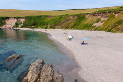 Baia Cornovaglia Inghilterra Regno Unito di Whitsand della spiaggia di Portwrinkle Fotografia Stock Libera da Diritti