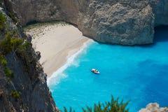 Baia del naufragio da sopra, la Grecia Fotografia Stock
