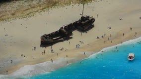 Baia del naufragio, isola di Zacinto, Grecia stock footage