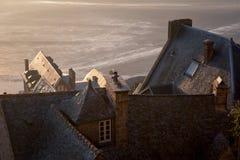 Baia del Saint Michel di Mont catturata all'alba La Normandia, Francia Fotografia Stock