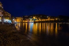 Baia del Silenzio Beach by night, Sestri Levante, Ligurian rivera, Genoa province, Italy. royalty free stock image