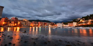 Baia del Silenzio at dusk. Sestri Levante. Italy Stock Images