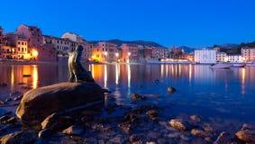 Baia del Silenzio by night. Sestri Levante - Ligurian sea royalty free stock photo