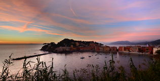 Baia Del Silenzio, Sestri Levante Camogli, Italien Lizenzfreies Stockbild