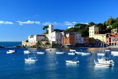 Baia del Silenzio, Sestri Levante. Liguria Italien Royaltyfri Bild