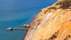 Baia dell'allume l'isola di Wight degli aghi Fotografie Stock Libere da Diritti