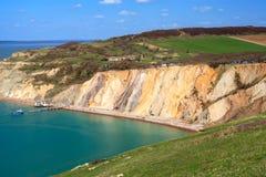 Baia dell'allume l'isola di Wight degli aghi Immagini Stock Libere da Diritti