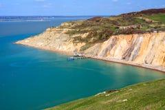 Baia dell'allume l'isola di Wight degli aghi Immagini Stock